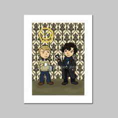 Sherlock and Watson Cartoon Cartoon Art Print by @Becky Hui Chan Seashols, $5.00 #sherlock #sherlocked