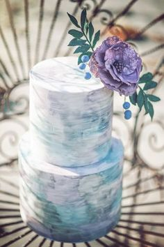 Bohemian Seaside Dream Wedding 2-Tier Watercolor Wedding Cake, beach wedding blue ombre cake