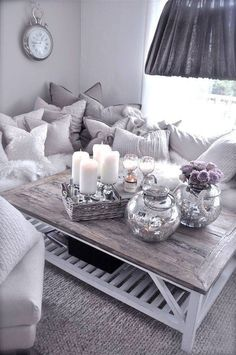 Grey table with Silver and White details.