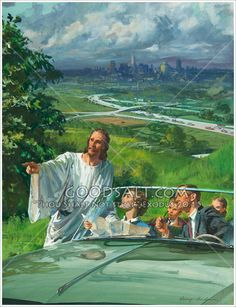 Jesus points the way for a family in an auto Catholic Art, Religious Art, God Loves Me, Jesus Loves, Bible Story Book, Spiritual Images, Prophetic Art, Spirituality Books, Mary And Jesus