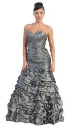 US Fairytailes Strapless Taffeta Prom Holiday Formal Gown Long Dress #27019