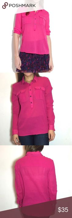 Madewell Pink Market Popover Madewell Market Popover.  -Loose fit. -100% Cotton. -Excellent condition!  NO Trades. Please make all offers through offer button. Madewell Tops Button Down Shirts
