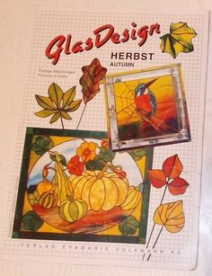 OOP GlasDesign 'Autumn' Stained Glass Patterns Leaves Birds Grapes Owl Pumpkin #GlasDesign