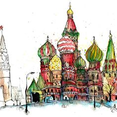 Radosław Kuźmiński (@radoslaw_kuzminski_art) в Instagram: «Moscow - Saint Basil's Cathedral in Red Square.  #moscow #redsquare #aquarell #art #painting #watercolor #sketch  #paint  #drawing #sketching #sketchbook #travelbook #archisketcher #sketchaday #sketchwalker #sketchcollector #artbook #artjournal #traveldiary #topcreator #usk #urbansketchers #urbansketch #скетчбук #скетч #скетчинг #pleinair #aquarelle #watercolorsketch #usk #architecture #topcreator