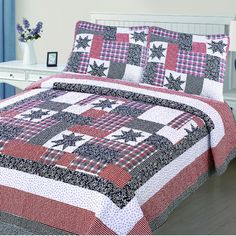 Infinite Home Reversible Printed Quilt Set Size: Pink Blue, Blue Grey, Red And White, Quilt Sets, Bed & Bath, Pillow Shams, Accent Pillows, Comforters, Quilts