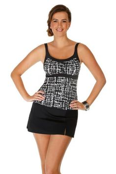 Caribbean Joe Swimwear Women's Framed Peasant Tankini Top. Color black and white checkers print. This women swimwear top has padded cups and a shelf bra. Mix and match bathing suits. Each piece is sold separately. Style # 861192. Caribbean Joe Swimwear Women's Framed Peasant Tankini Top. M.S.R.P. $63.00