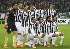 Juventus FC team line up before the UEFA Europa League Round of 32 first leg match between Juventus and AS Trabzonspor at Juventus Arena on ...