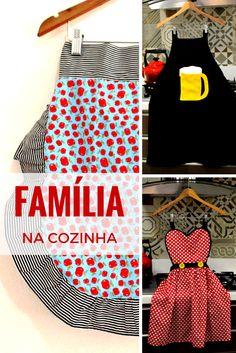 Família na cozinha! :D Avental Frufru, Avental Minnie e Avental Cervejeiro para quem comanda o churrasco! Muito mais charme e união na cozinha com aventais Meu Avental :)