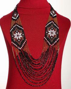 Traditional Ukrainian Folk Handmade Glass Beads NECKLACE Long Gerdan: Black /Gold /White /Red-koraliky on etsy