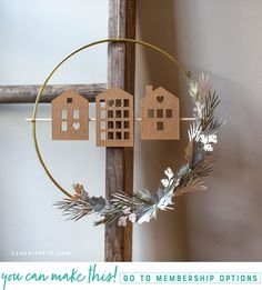 Scandi House and Greenery Wreath Tutorial - Lia Griffith - # decoración escandinava # corona de invierno - Christmas Love, All Things Christmas, Christmas Crafts, Christmas Decorations, Decor Crafts, Diy And Crafts, Paper Crafts, 1 Advent, Greenery Wreath
