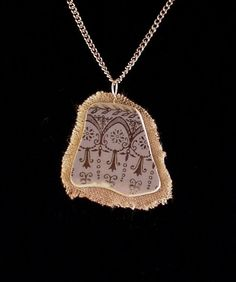 Broken china jewelry shard and linen pendant necklace antique Gothic design gold on blue