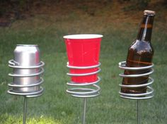 BBQ Tools The Tool Wizard: Beverage Holders - Coiled Metal Rust Proof Beverage Holders Cocktail Drinks, Fun Drinks, Beverages, Cocktails, Magazine Table, Red Solo Cup, Drink Holder, Cup Holders, Brew Your Own