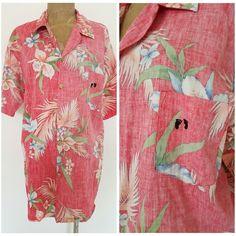 Vintage 80s Hang Ten Shirt Size XLarge Reverse Print Hawaiian Mens Casual Cotton #HangTen #Hawaiian