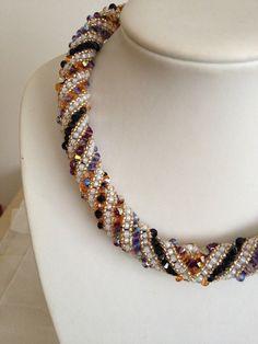 Russian Spiral Swarovski Necklace Hand Threaded by TwinklingGems over 520 Swarovski