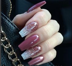 30 Best Bridal Nail Art Designs That Will Trend This Year! Mauve Nails, Glitter Nails, Purple Glitter, Nails Acrylic Coffin Glitter, Disney Acrylic Nails, Long Square Acrylic Nails, Long Square Nails, Coffin Nails Ombre, Glitter Top