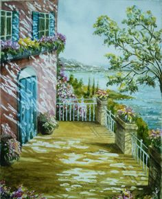 original painting watercolor Sunny italian landscape, painting italy, seascape, sityscape, beach, view, coastal, summer, gift ideas