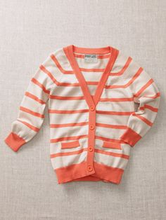 Boys Stripe Cardigan by Ryder and James---I love this for my girls! Love bright orange!