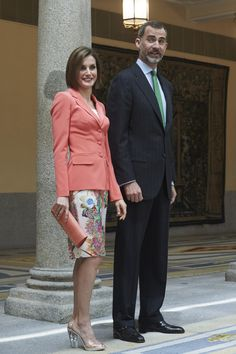 King Felipe VI of Spain and Queen Letizia of Spain attended the ceremony to mark the 200 year of the council of the Greatness of Spain at the El Pardo Palace on June 16, 2015 in Madrid, Spain.