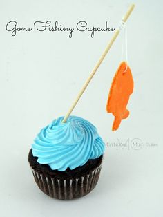 Gone Fishing Cupcakes- cute for a baby shower Gone Fishing Party, Gone Fishing Cake, Birthday Parties, Boy Birthday, Fish Cake Birthday, Birthday Ideas, Fishing Cupcakes, Cookie Dough Cupcakes, Cookies