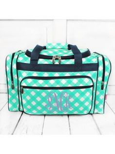 www.ewam.com Mint and White Diamond Gingham Duffle Bag with Navy Trim