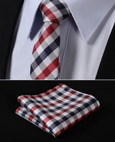 "TC350R5 Red Blue Check 2.17"" 100%Silk Jacquard Woven Slim Skinny Narrow Men Tie Necktie Handkerchief Pocket Square Suit Set - http://nklinks.com/product/tc350r5-red-blue-check-2-17-100-silk-jacquard-woven-slim-skinny-narrow-men-tie-necktie-handkerchief-pocket-square-suit-set/"