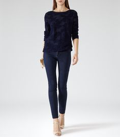 Womens French Navy Floral Jacquard Jumper - Reiss Mia