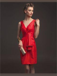 Red Column V-neck Sash Satin Short 2014 Prom Dress. I like the color. The length is OK.