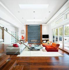 meubles salon design chemine moderne et rampe en verre - Salons Moderne En Velours