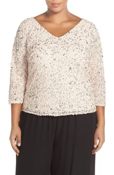 Adrianna Papell V-Neck Sequin Mesh Top (Plus Size) available at #Nordstrom