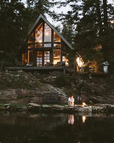 No photograph description accessible. - Cabin & Cottage Houses For a house that appears actually out of a storybook, these . Cabins In The Woods, House In The Woods, Cabin On The Lake, Cottage In The Woods, Tiny House, A Frame Cabin, A Frame House Plans, Forest House, Forest Cabin