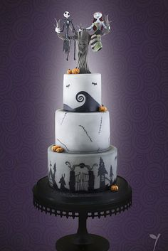 """24 Completely Bewitching Tim Burton Inspired Wedding Ideas """"With this hand, I will lift your sorrows. Your cup will never empty, for I will be your wine. With this candle, I will light your way in darkness. With this ring, I ask you to be mine. Halloween Torte, Halloween Wedding Cakes, Christmas Wedding Cakes, Fete Halloween, Gothic Wedding Cake, Gothic Cake, Camo Wedding, Gorgeous Cakes, Amazing Cakes"""