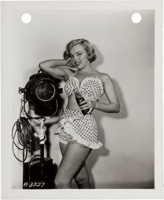 """grayflannelsuit: """"Marilyn Monroe on the set of the 1951 film Love Nest. """""""