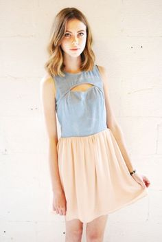 Neon Rose blue denim mini dress with cut out backless style and pink romantic mini skirt, a great festival dress