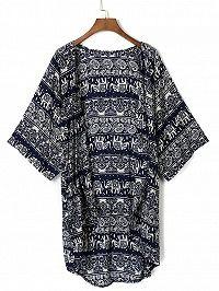 Dark Blue Tribe Pattern 3/4 Sleeve Loose Kimono