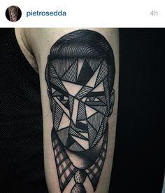 surreal portrait tattoo by Pietro Sedda