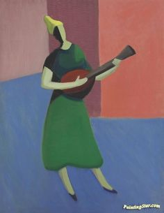 The mandolin player Artwork by Milton Avery Hand-painted and Art Prints on…