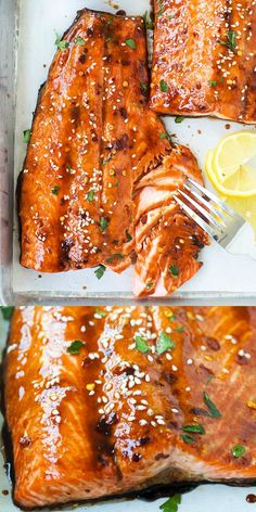 Soy Glazed Salmon with a savory and flavorful soy sauce mixture. This oven baked salmon recipe is so easy. It takes 10 mins prep time an. Fish Dishes, Seafood Dishes, Seafood Recipes, Dinner Recipes, Dinner Ideas, Seafood Bake, Chicken Recipes, Butter Salmon, Snacks