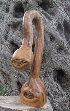 I AM hand carved olive wood surreal sculpture