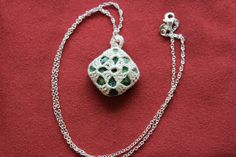 Square Green Stone Crochet Pendant by FuchsiaFoxStudio on Etsy
