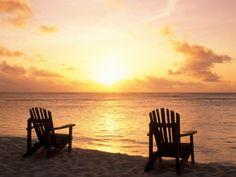 Empty Beach Chairs at Sunset, Denis Island, Seychelles