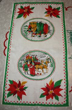 Vintage Victorian-themed Christmas Printed Linen by FelicesFinds