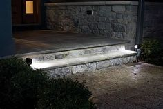 Outdoor Step Lights 8 Ways To Use Step Lights (Photo Inspiration). Path lights - not in-step but same idea & prob more light Best Solar Path Lights, Solar Step Lights, Led Stair Lights, Led Path Lights, Stair Lighting, Exterior Lighting, Outdoor Path Lighting, Outdoor Steps, Landscape Lighting