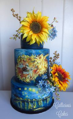 Van Gogh Sunflowers Wedding Cake - Cake by Callicious Cakes - CakesDecor Pretty Cakes, Beautiful Cakes, Amazing Cakes, Wedding Cake Designs, Wedding Cakes, Sunflower Cakes, Van Gogh Sunflowers, Hand Painted Cakes, Food Artists