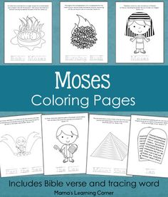 set of Moses Bible Coloring Pages for Preschoolers and Kindergartners; For littles Moses lesson Sunday School Activities, Sunday School Lessons, Sunday School Crafts, Preschool Bible Lessons, Bible Activities, Bible Story Crafts, Bible Stories, Colegio Ideas, Bible Coloring Pages