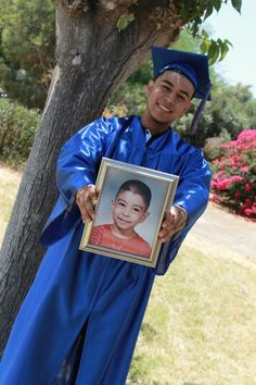 Graduation pictures! Graduate holding their Kindergarten or Pre-k pic in their cap and gown. Loved this idea and had to do it with my little brother. My parents and family loved this pic!