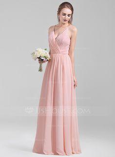 A-Line/Princess V-neck Floor-Length Ruffle Zipper Up Spaghetti Straps Sleeveless No Pearl Pink Spring Summer Fall General Plus Chiffon Bridesmaid Dress