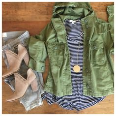 striped peplum tee, grey jeans, and a great military jacket