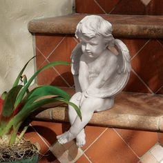 """12.5"""" Angel of Meditation Statue Sculpture Figurine by XoticBrands. $44.74. Cast in quality designer resin. Classic Statues Sculptures. Angel of Meditation StatueDrawing directly upon the original by Italian artist Pietro GhiloniThis famous work, sculpted before the turn of the century by Italian master Pietro Ghiloni, is ready to take its place on window ledge or sunny garden wall. Cast exclusively for in quality designer resin with an antique stone finish, this charming acc..."""