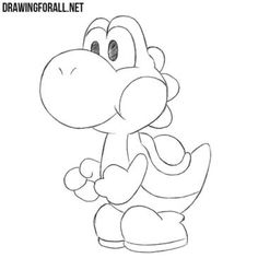 In this lesson we will show you how to draw Yoshi - one of the most interesting and cute characters of the games about Mario. Disney Sketches, Disney Drawings, Cartoon Drawings, Easy Drawings, How To Draw Mario, How To Draw Yoshi, Disney Character Drawings, Disney Characters To Draw, Yoshi Drawing