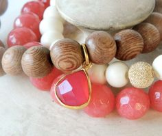 Rosewood stretch bracelet with pink gemstone charm by Studio3712Jewelry